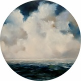 "Janine Robertson, ""Indigo Sea"", oil on copper, 18"" round, $1,600"