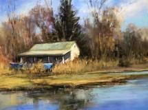 """Beverly A. Schirmeier, """"Winter Storage"""", pastel, 9x12, $625"""