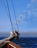 """Len Swec, """"At anchor, hanging out"""", acrylic, 18x14, $1,750"""