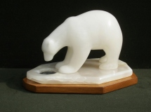 "Susan VanWinkle, ""Missed Opportunity"", alabaster & onyx, 8x8x13, $5,500"