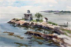 Noreika_Robert_Thimble-Island-View_watercolor_15x28_2200