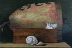 Perkowski_Bob_Lobster-Buoy-with-Seashells_oil_10x13_2200