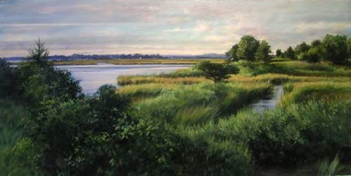 """Griswold Point, Dusk"", Oil on Linen, 24"" x 48"""