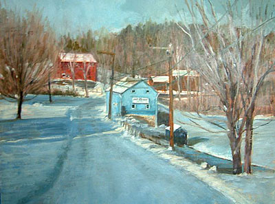 Karen Cashman,  Snowy Morning, Botsford Hill, Roxbury, Oil on Board, 12 x 16