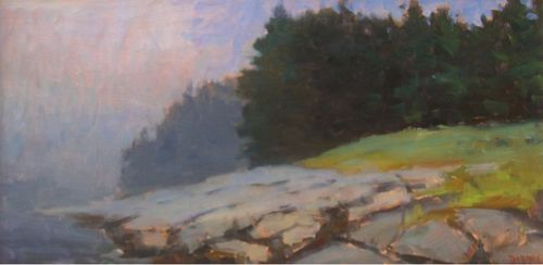 Ken Dorros, Lifting Fog (Port Clyde, Maine), Oil, 12 x 24