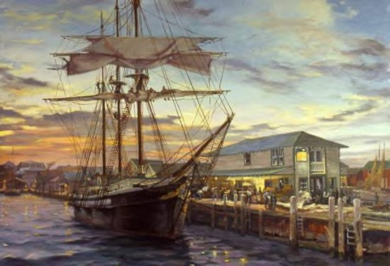 William Hanson, Refit at Greenport, Oil, 18 x 24