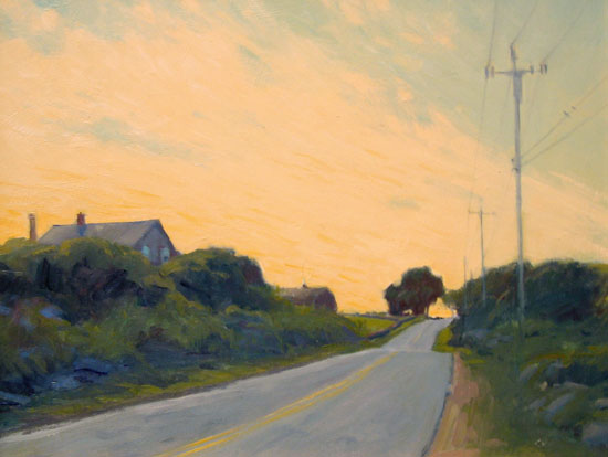 Christine Karpinski, Golden Sky, Copper Beach, Block Island, Oil, 11 x 14