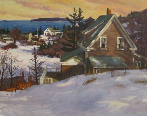 Caleb Stone, Winter Morning, Horns Hill, oil