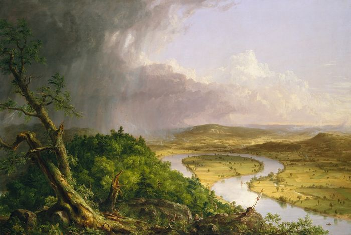 Thomas Cole, View from Mount Holyoke, Northampton, Massachusetts, after a Thunderstorm (The Oxbow), 1836. Oil on canvas, 51 x 76 ins. Metropolitan Museum of Arts, New York